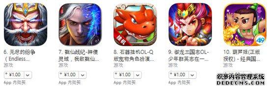 7月20日苹果游戏榜单:《老九门》进入畅销榜前十